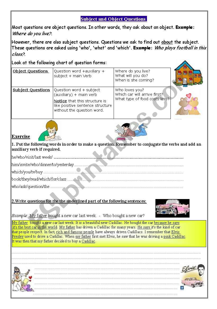 Subject and Object Questions worksheet