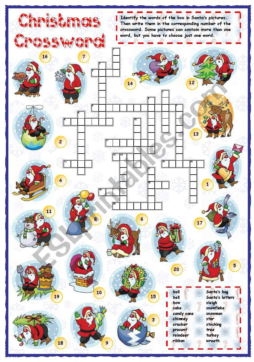 Christmas vocabulary crossword