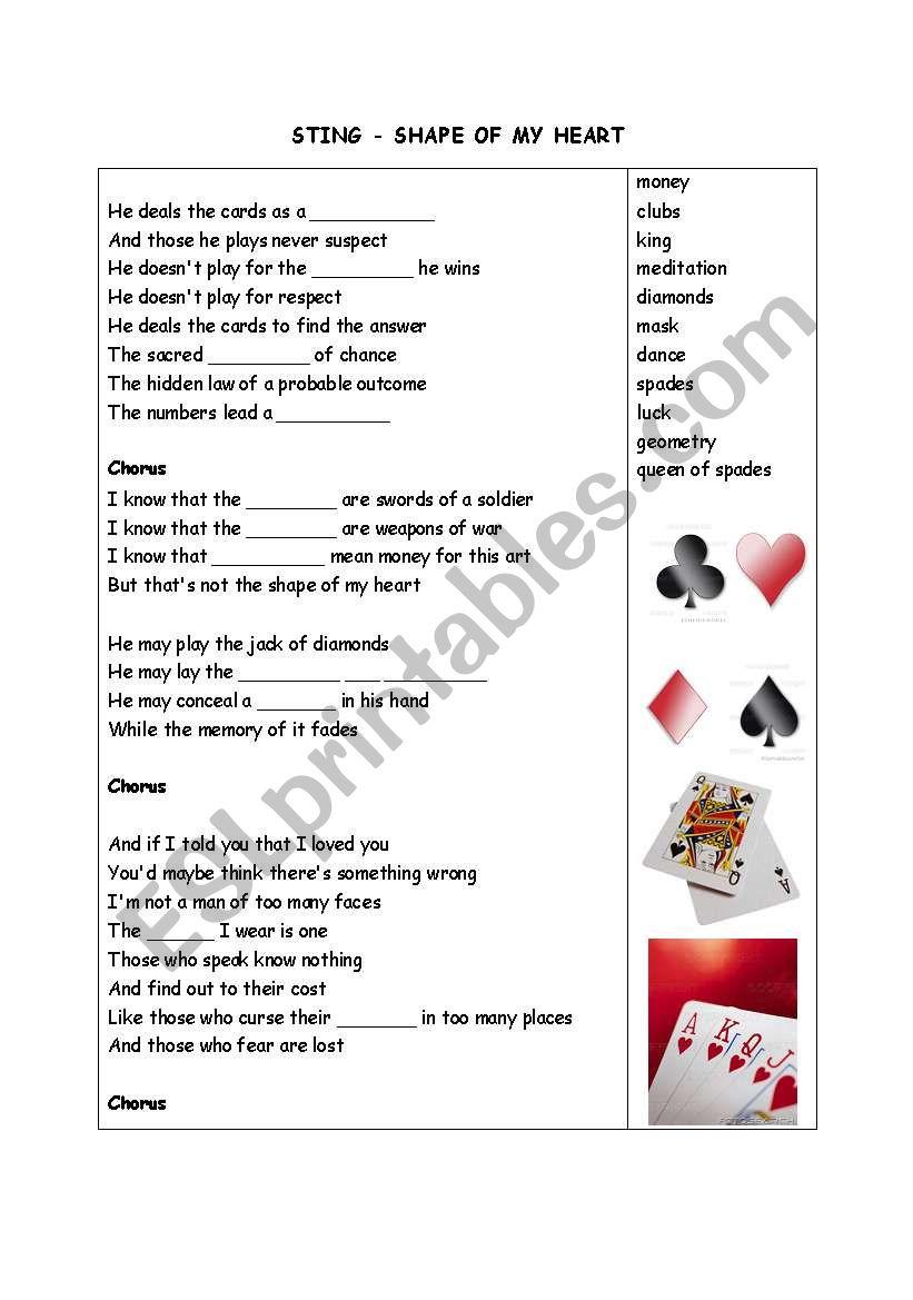 Shape of my heart - STING - ESL worksheet by alexandraph