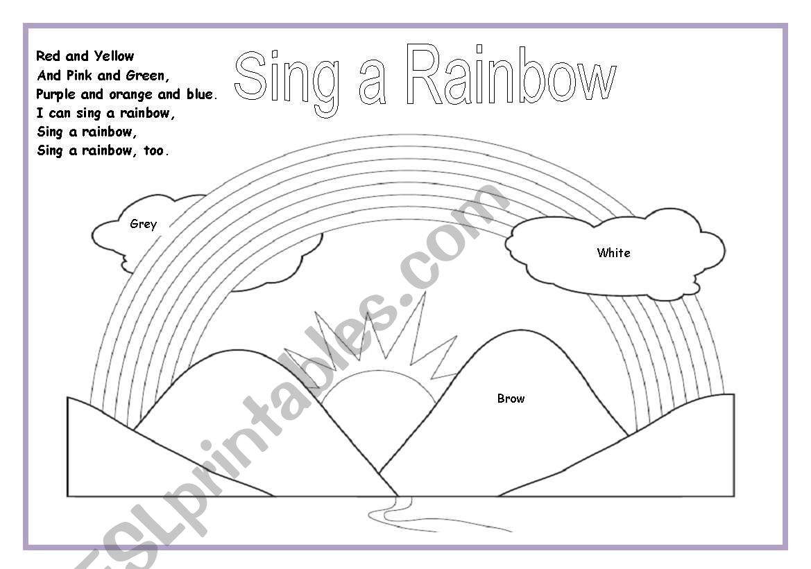 Sing a Rainbow lyrics and colouring exercise