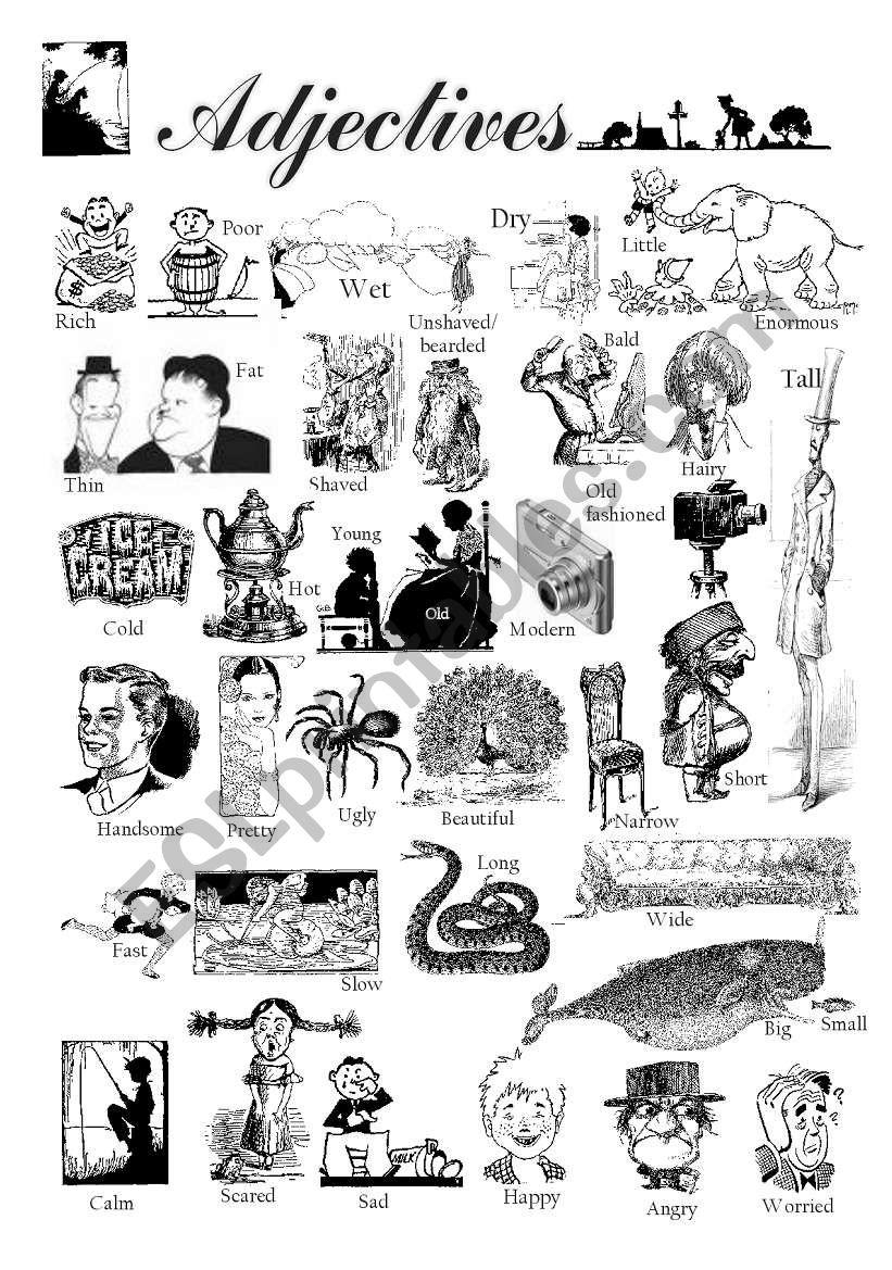 40 adjectives worksheet
