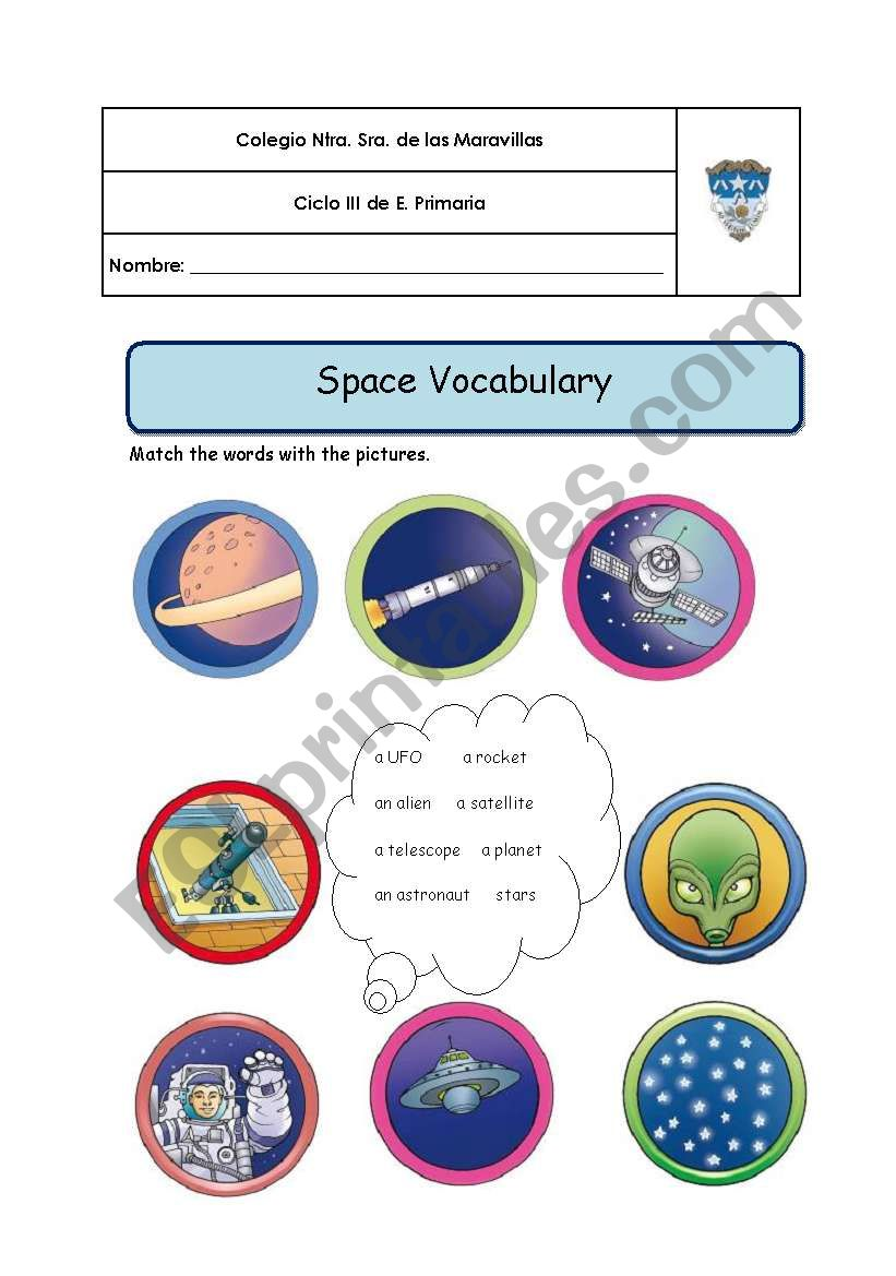 Space and planets Vocabulary worksheet