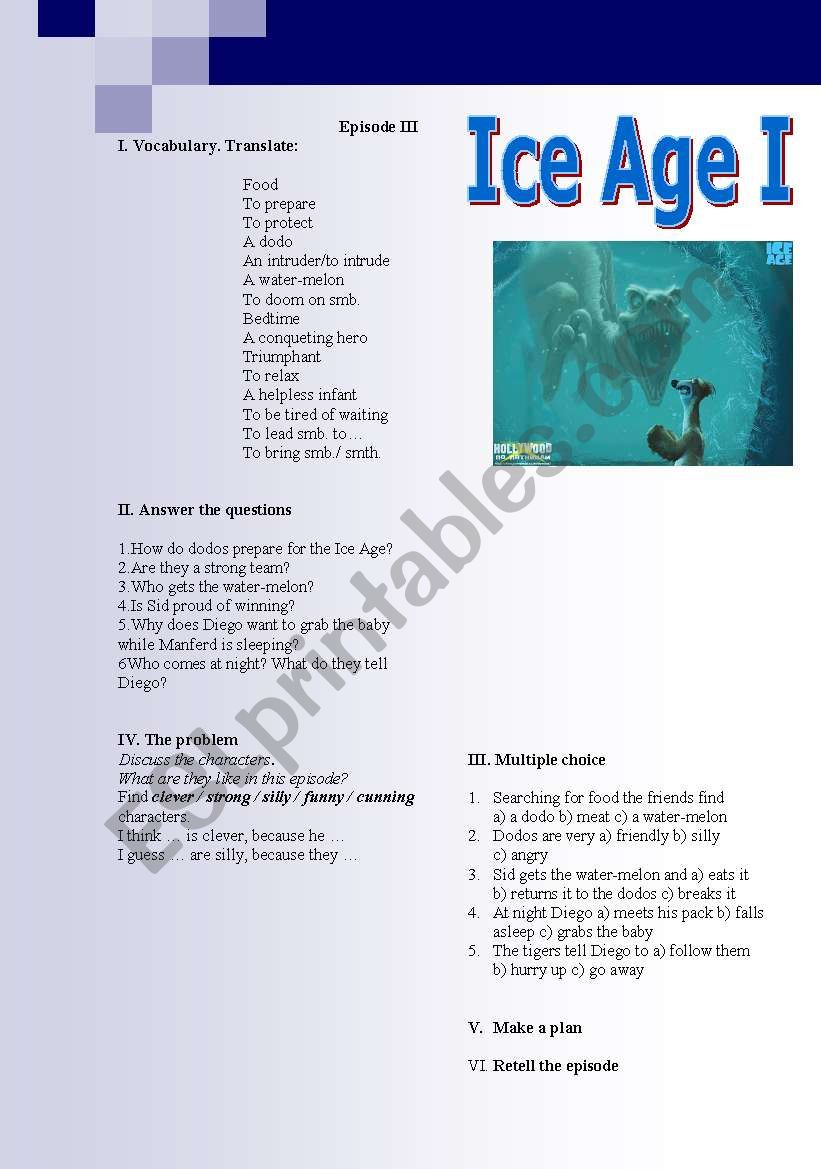 Ice Age (episodes 3-5) - ESL worksheet by lara puella