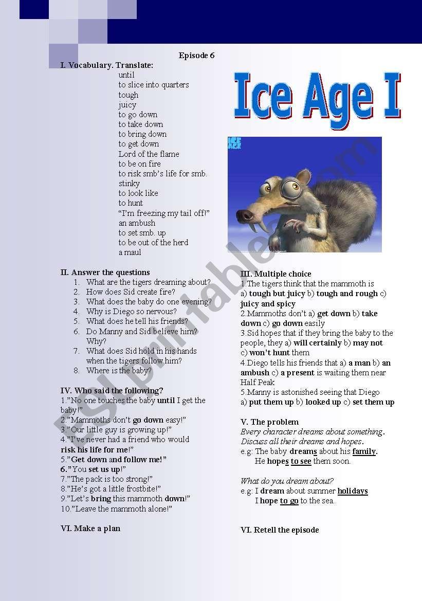 Ice Age (episodes 6-7) - ESL worksheet by lara puella