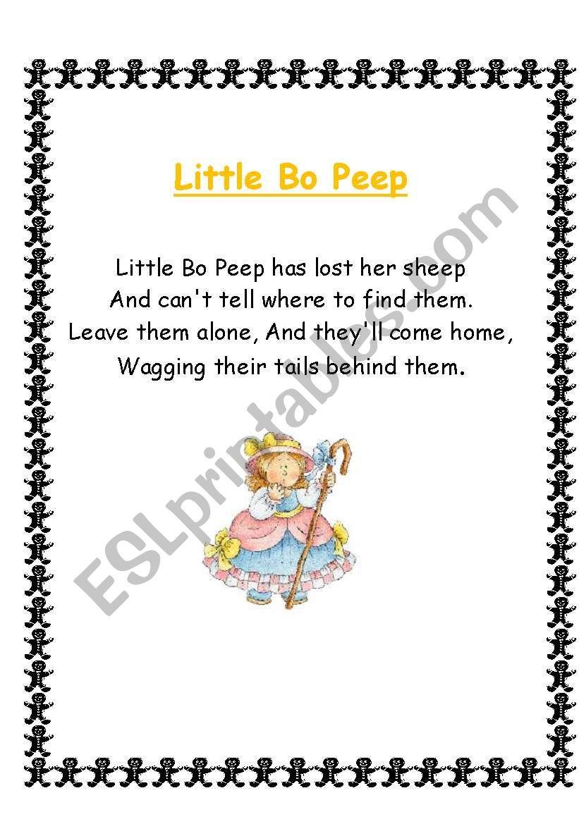 Nursery Rhymes, Songs and Poems 3/4 - ESL worksheet by slaurence