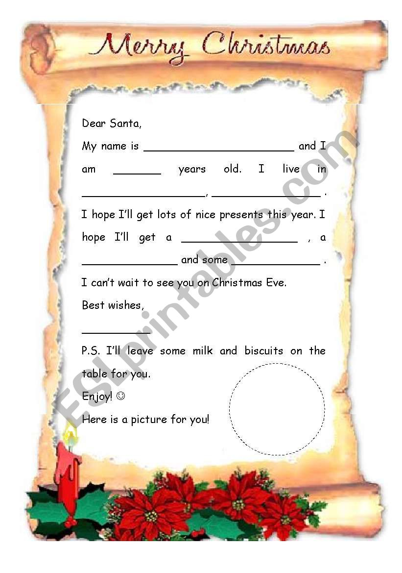 Letter to Santa (page 2 B&W) worksheet
