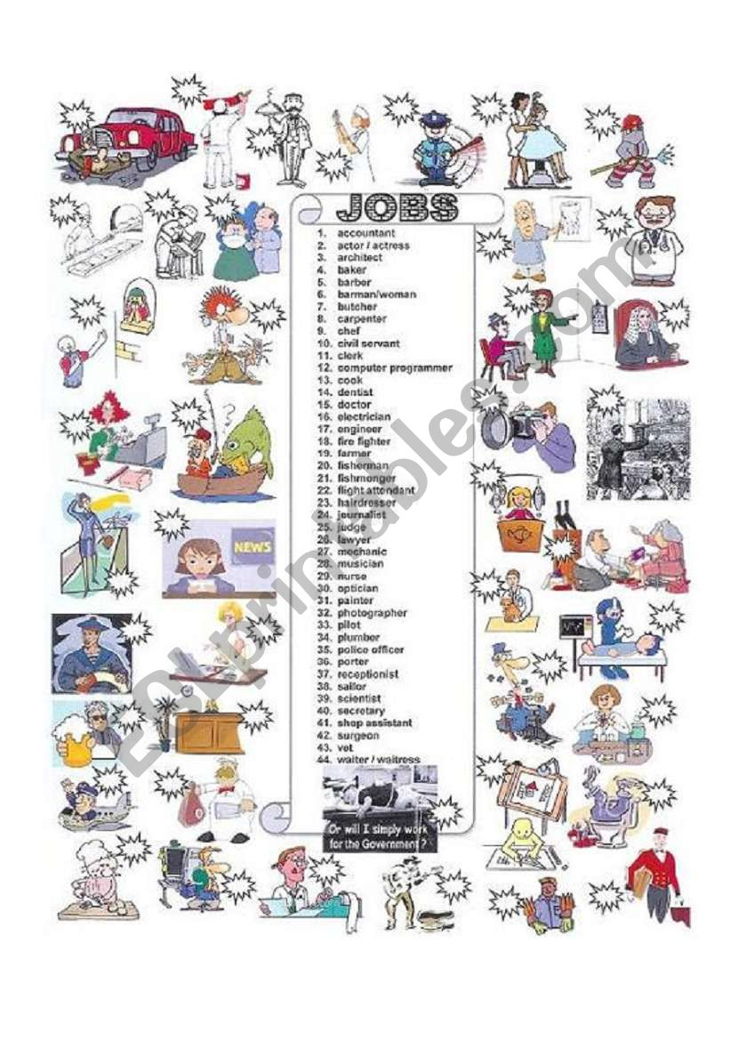 JOBS & OCCUPATIONS worksheet