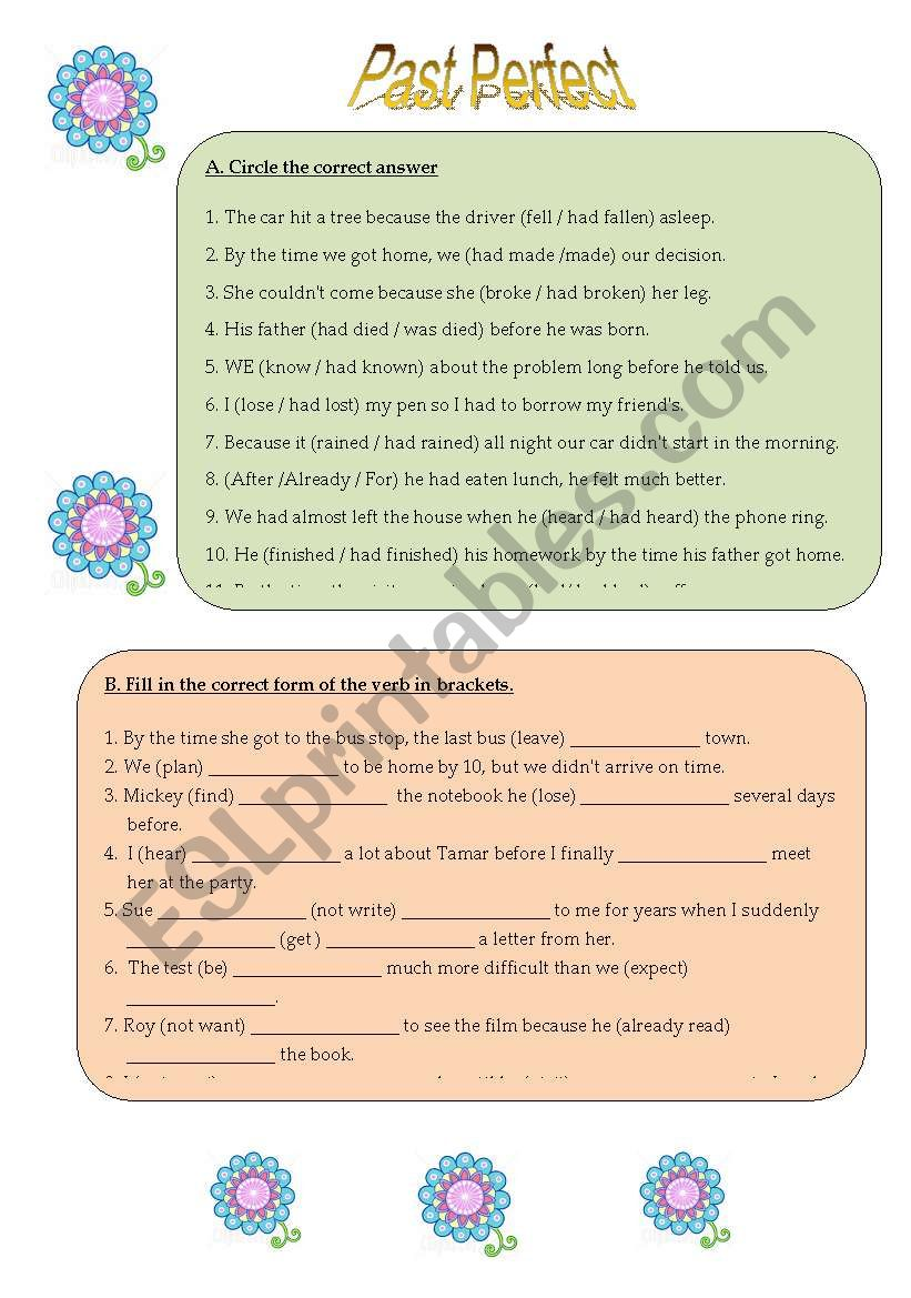 Past Perfect and Past Simple worksheet