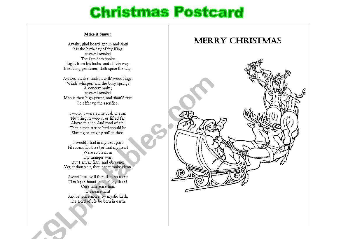 Christmas Postcard  worksheet