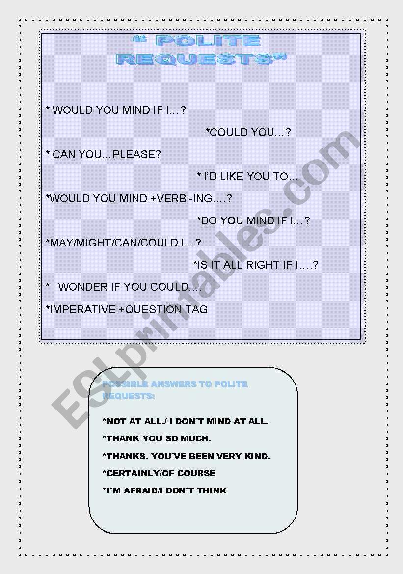 polite requests worksheet