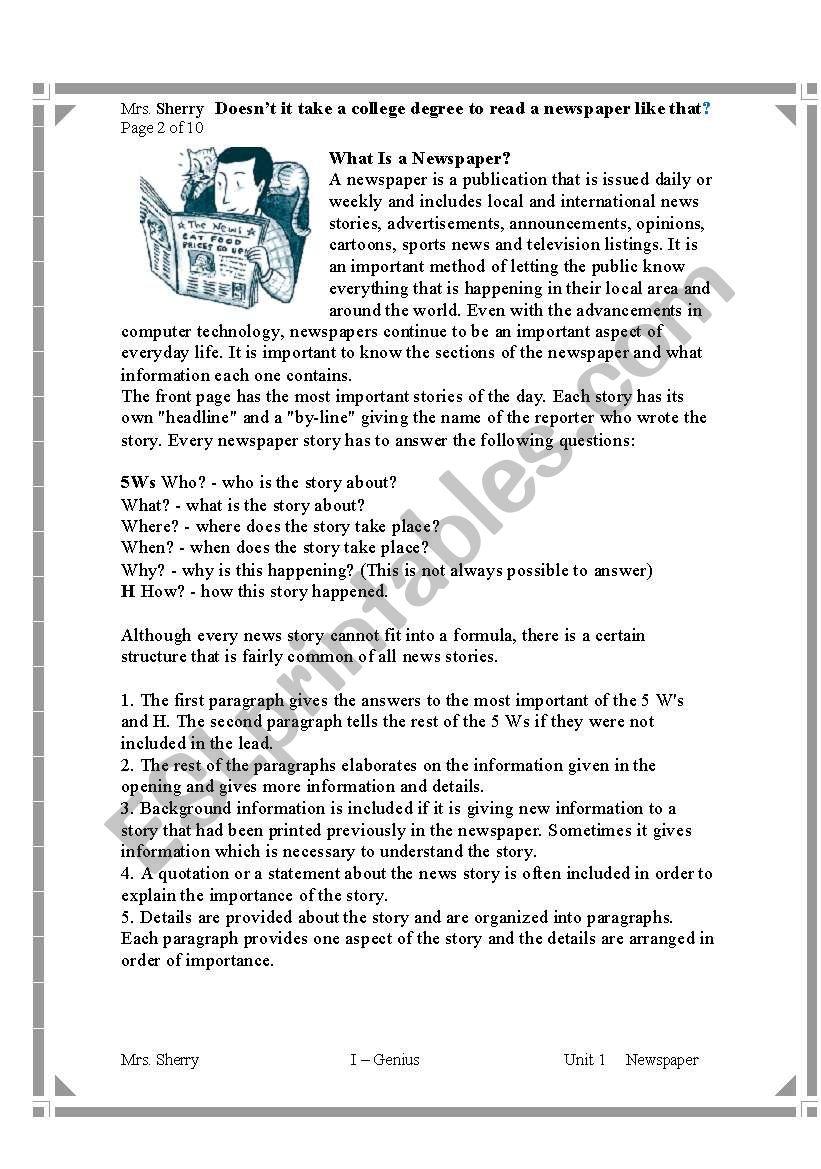 - Comprehension Passage -- Newspaper - ESL Worksheet By Sharu_4