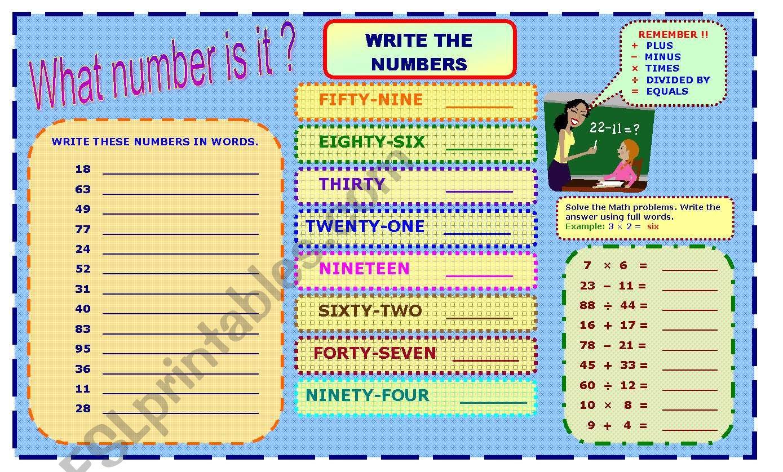NUMBERS 0-100  ( 2 Pages ) worksheet