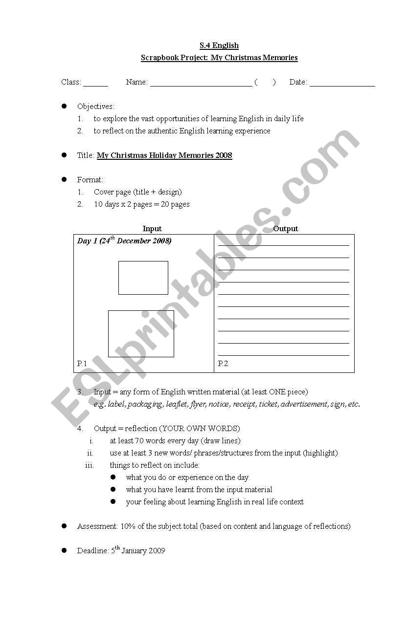 English worksheets: Project idea for Christmas holiday