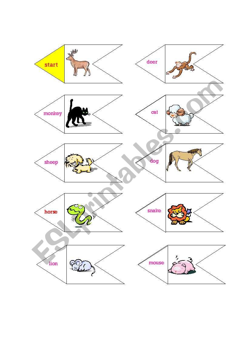 domino (19 animals and names) worksheet