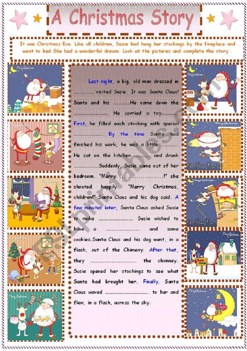 Writing  : A Christmas Story worksheet