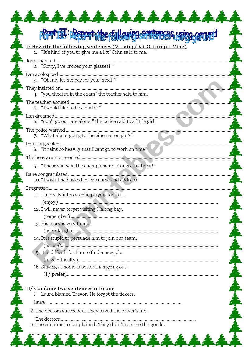 indirect speech using gerund worksheet