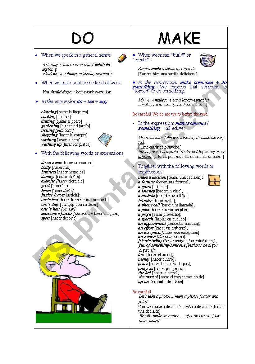 Do Vs Make Esl Worksheet By Angruiz