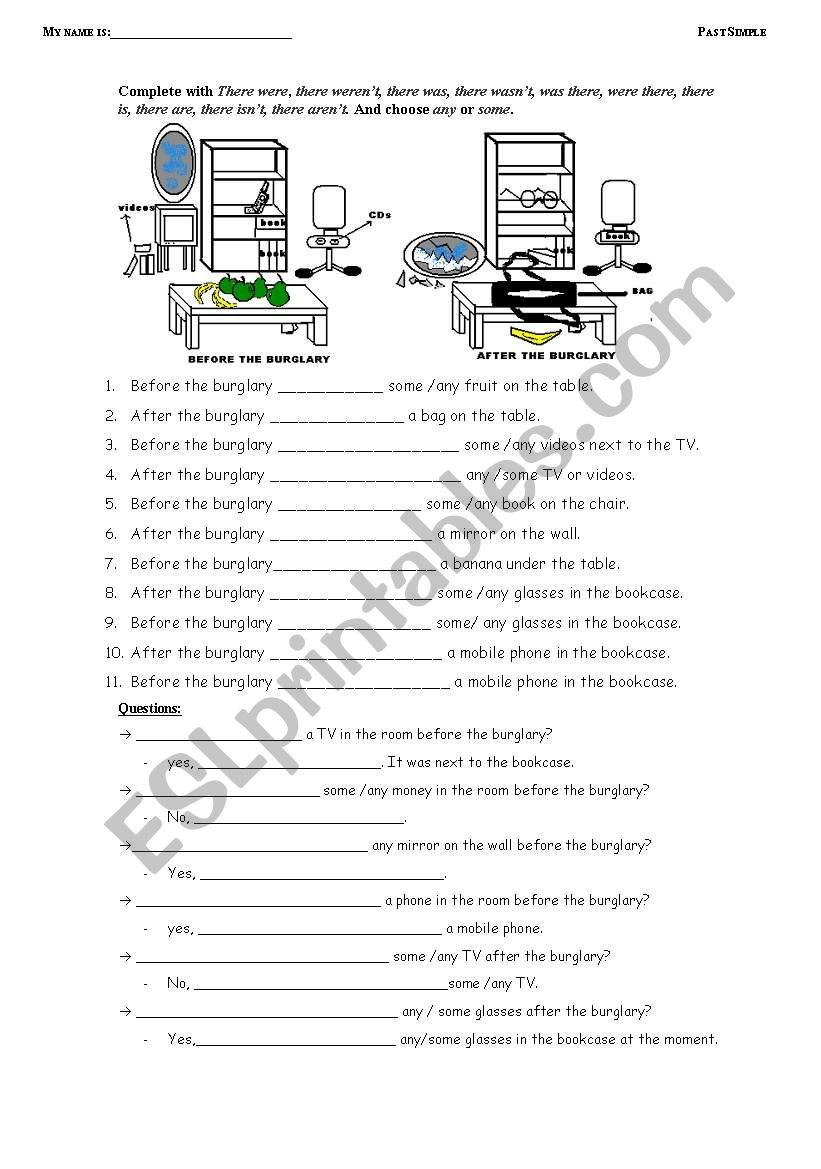 PAST SIMPLE. THE BURGLARY worksheet