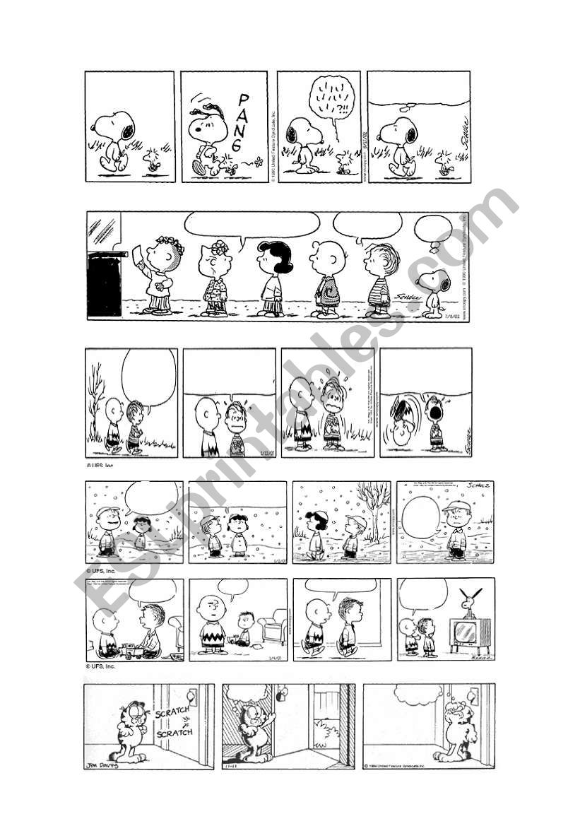 PEANUTS & GARFIELD BLANK COMIC STRIPS 1/5