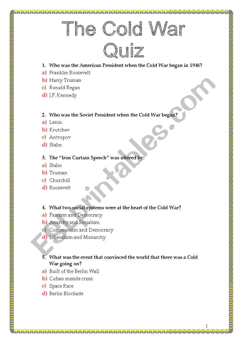 English Worksheets The Cold War Quiz