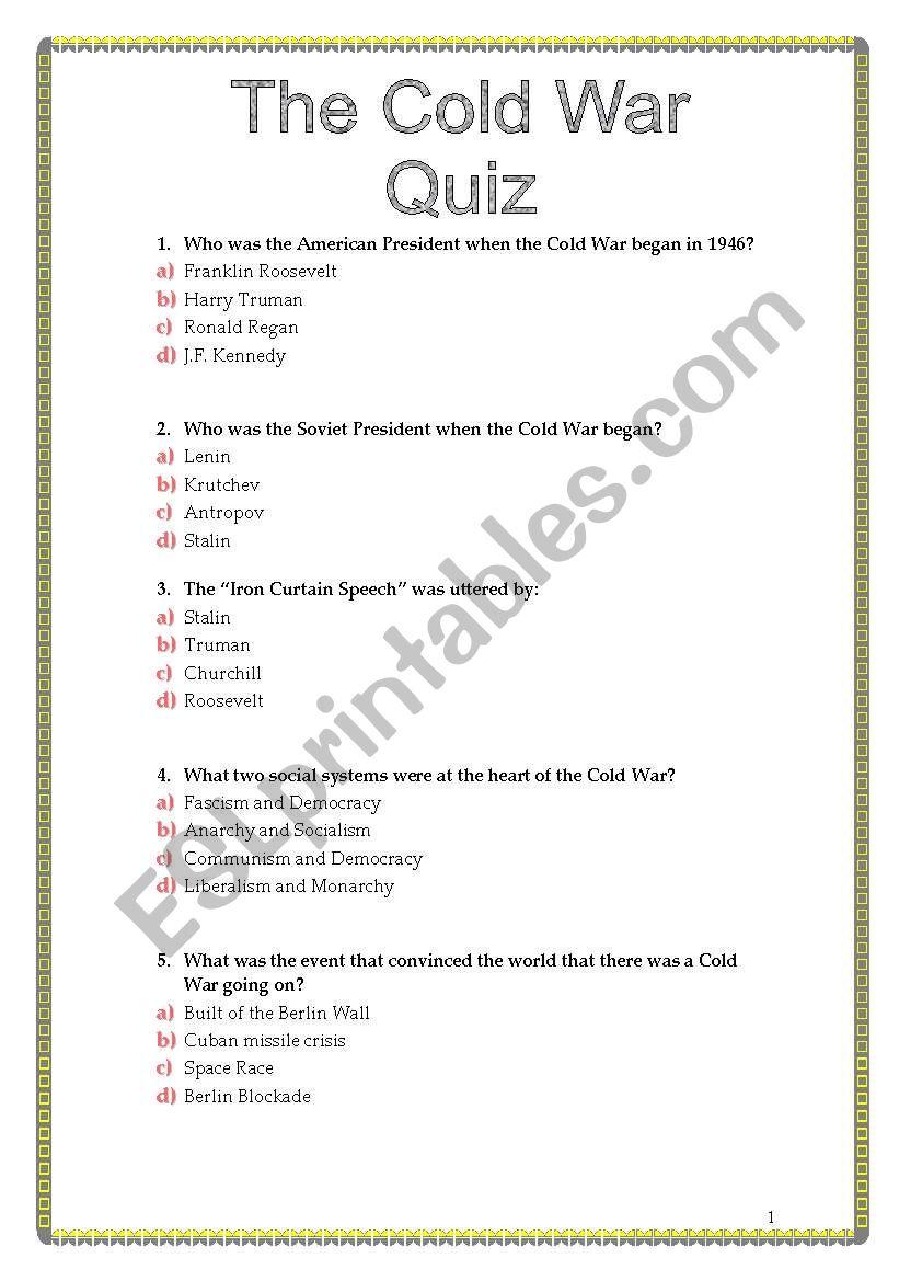 The Cold War Quiz Esl Worksheet By Sviviana