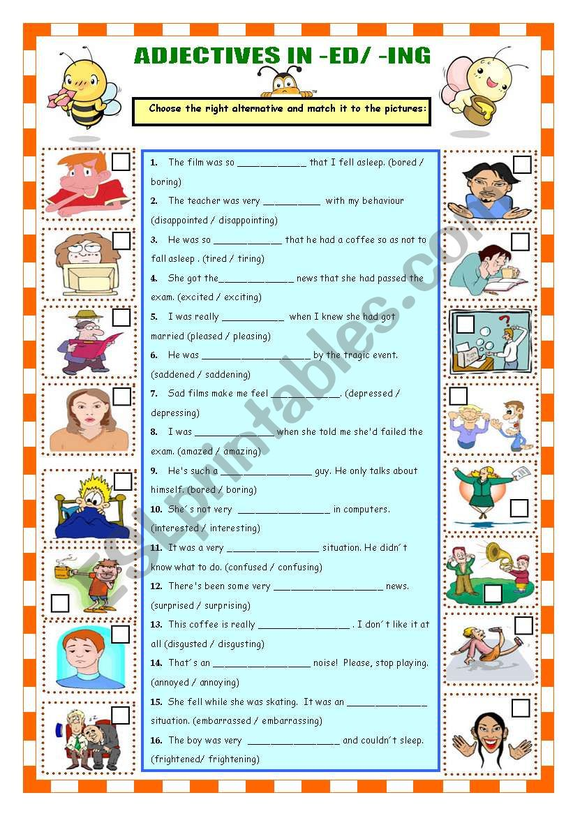 ADJECTIVES IN -ED / -ING worksheet