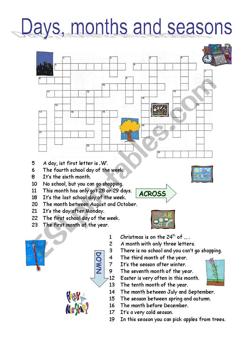 DAYS, MONTHS, SEASONS crossword