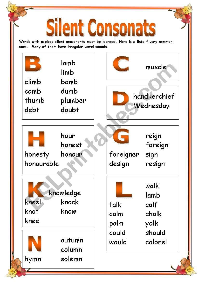 Silent consonants Part 1 worksheet