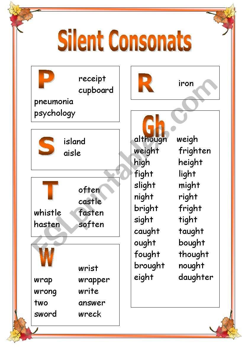 Silent Consonants PART 2 worksheet