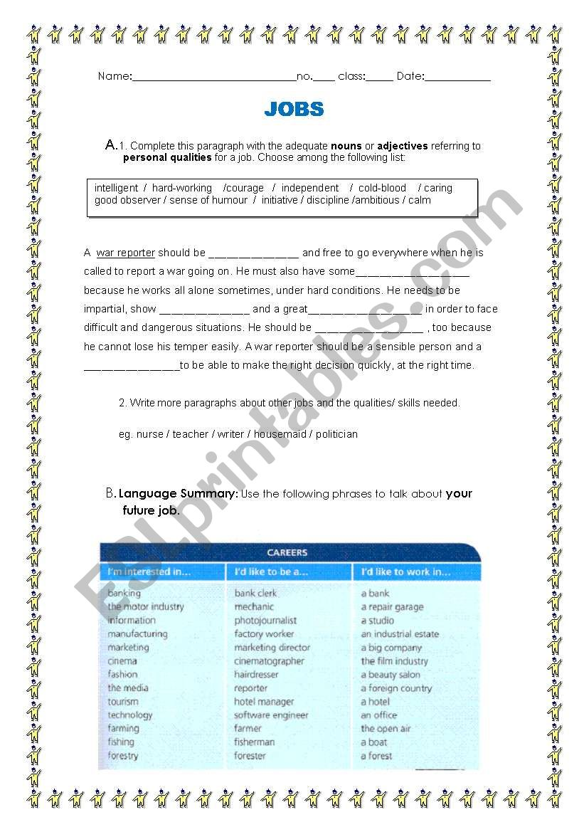 Future Career worksheet