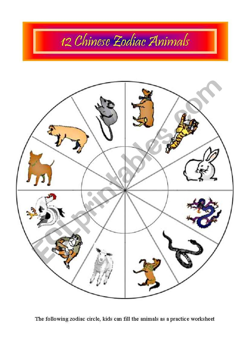 12 Chinese zodiac animals 5 pages