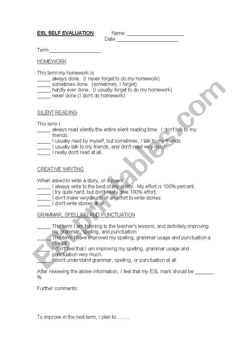 Student Self Evaluation worksheet