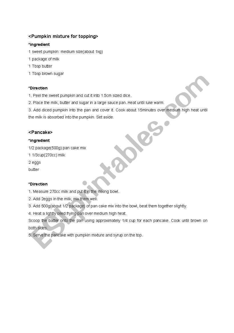 Pancake recipe worksheet