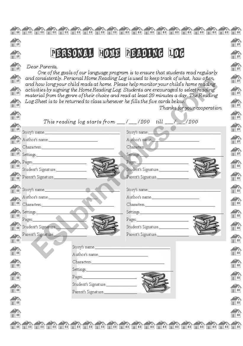 Personal Reading Log worksheet