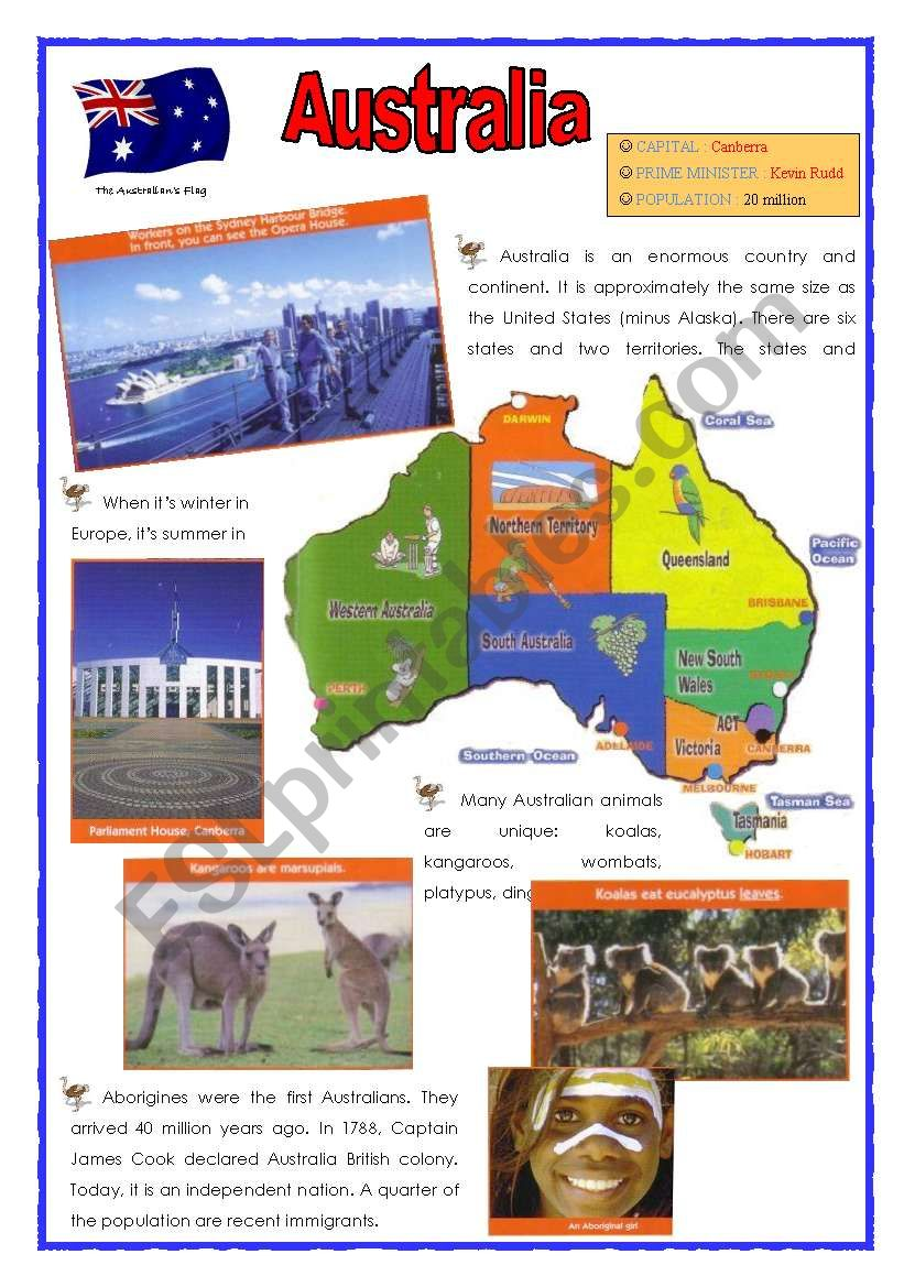 Australia (2 sheets) worksheet