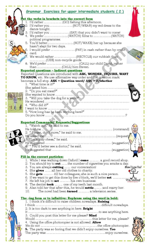 Grammar Exercises for upper intermediate students (2)