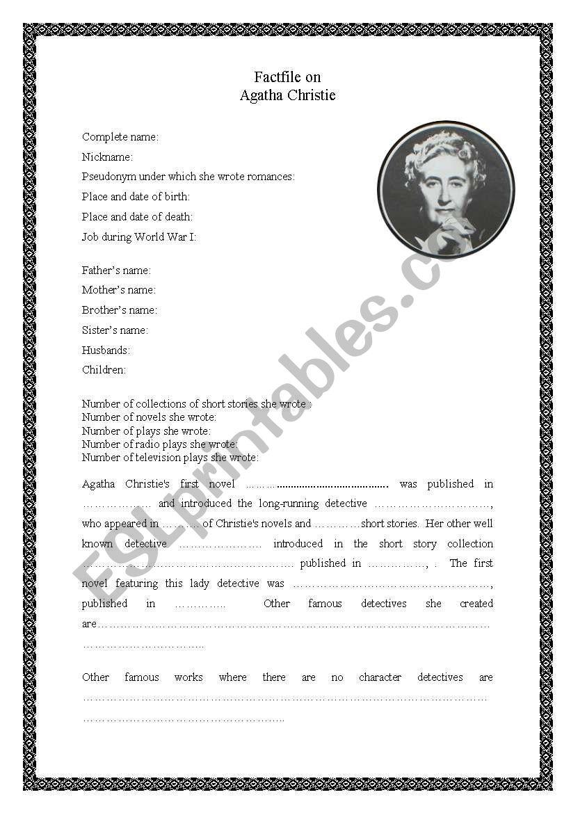 Factfile on Agatha Christie worksheet
