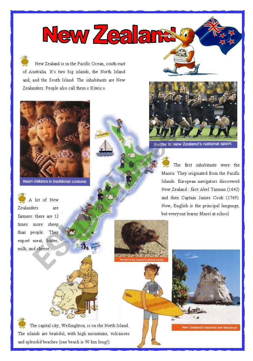 New Zealand (2sheets) worksheet