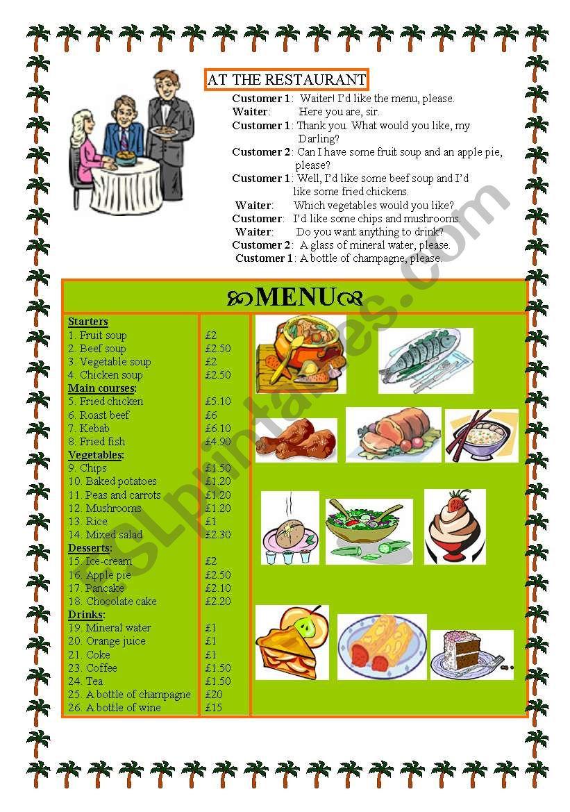 AT THE RESTAURANT -dialogue +menu