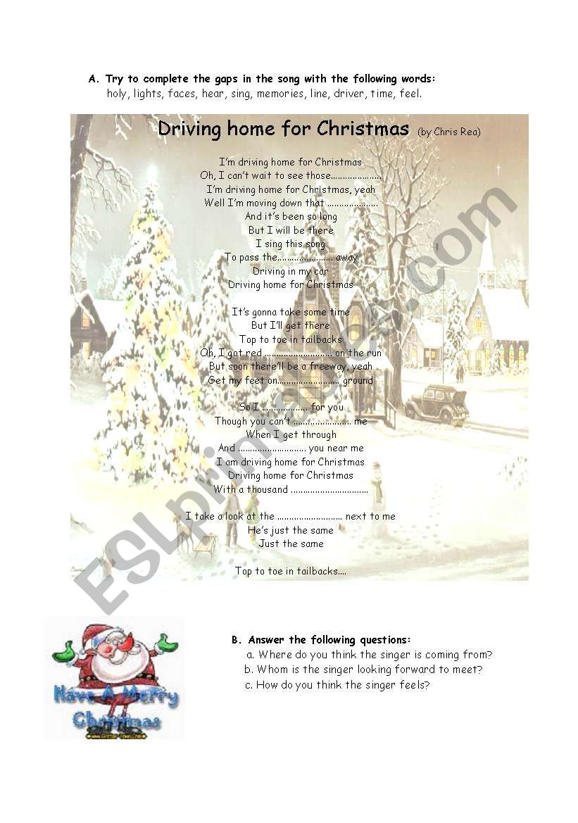 English worksheets: driving home for Christma-song