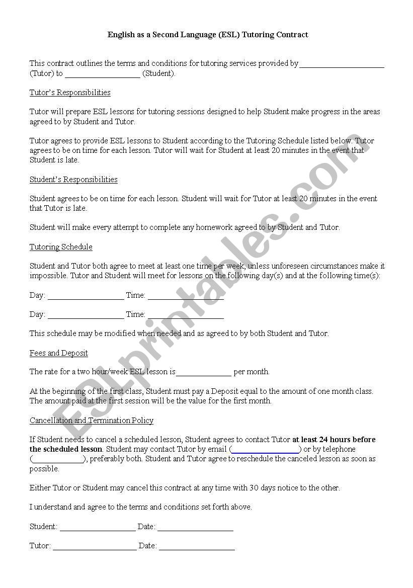 English worksheets: ESL Tutoring Contract