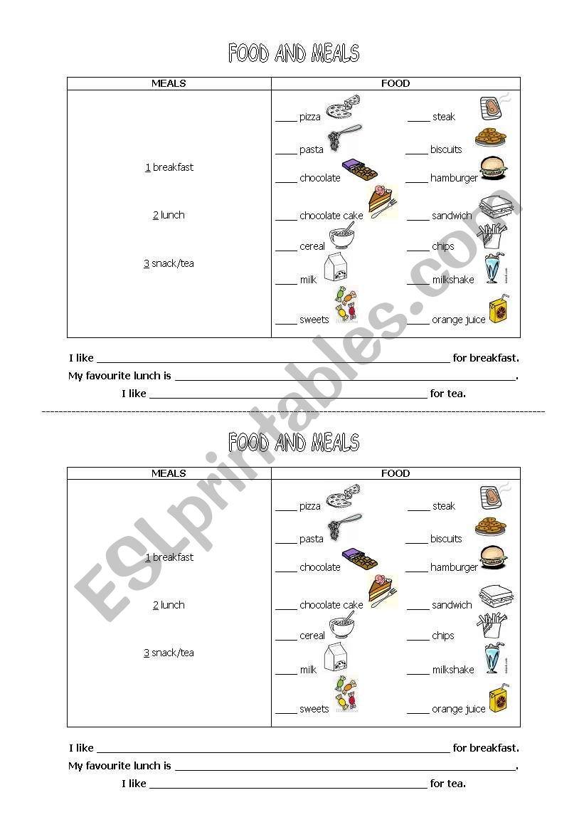 Food and meals worksheet