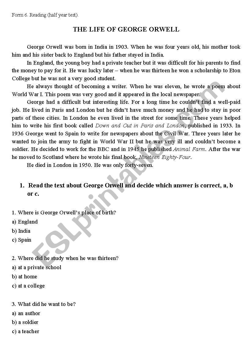 THE LIFE OF GEORGE ORWELL worksheet