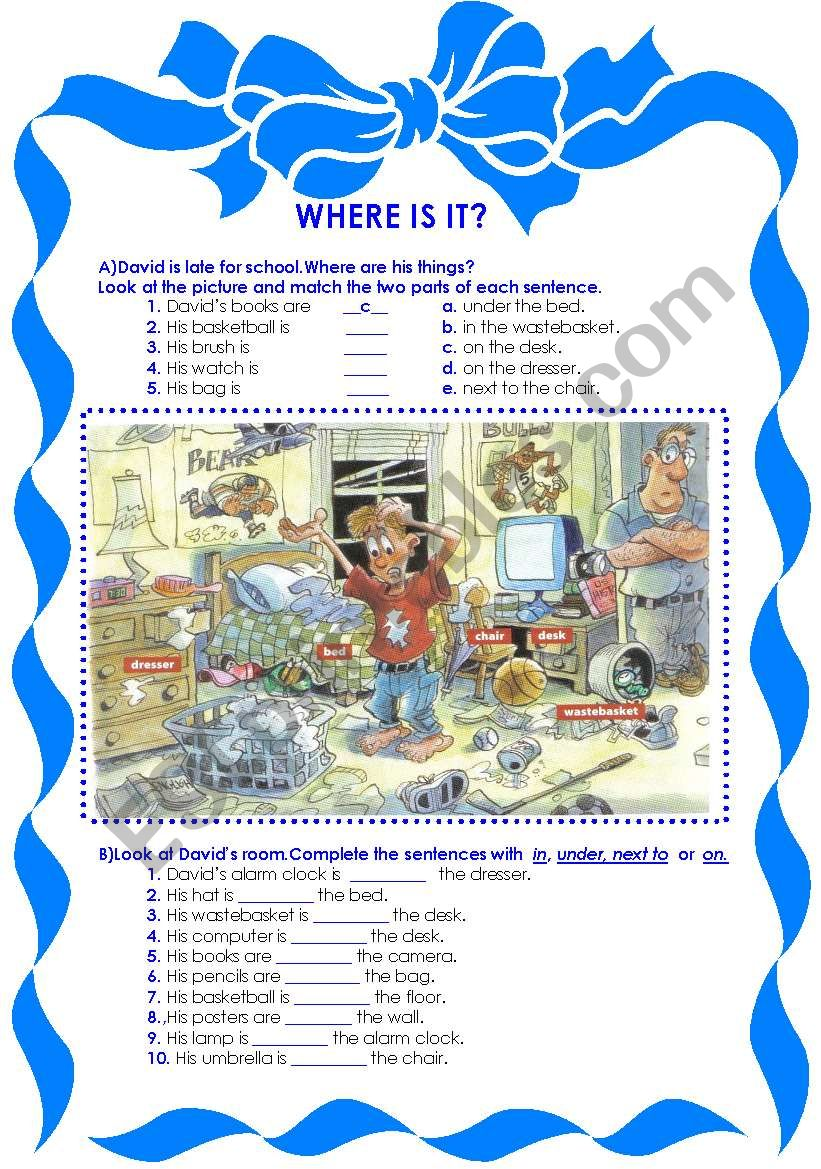 Where is it? / Prepositions worksheet