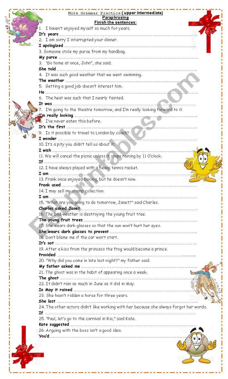 Grammar Practice (Paraphrasing)