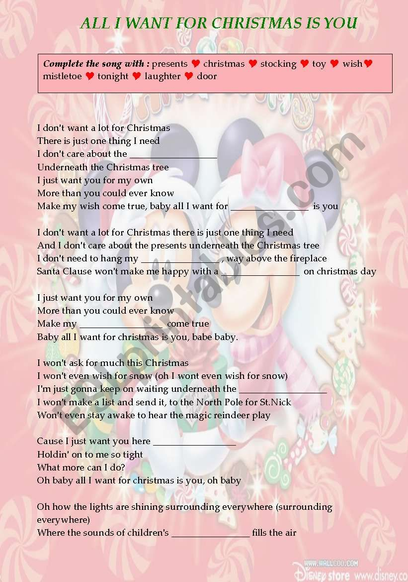 ALL I WANT FOR CHRISTMAS IS YOU - ESL worksheet by carameltrip