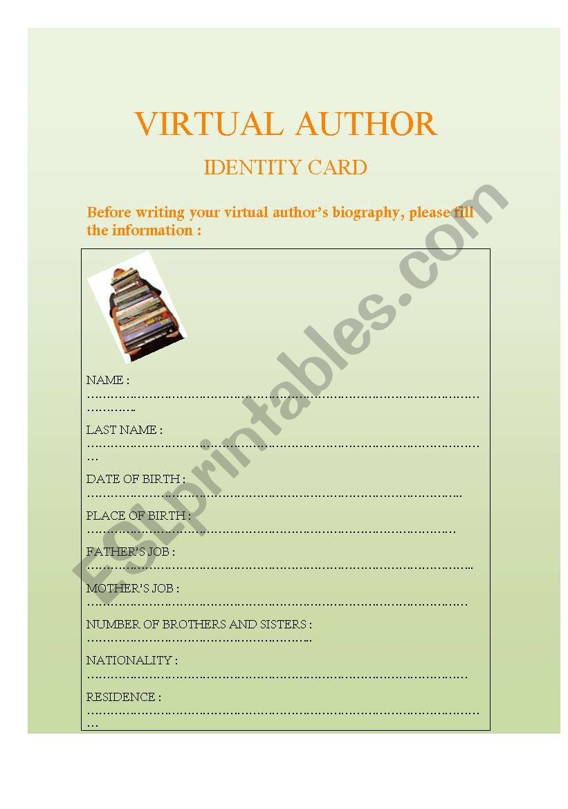 VIRTUAL AUTHOR´S ID worksheet