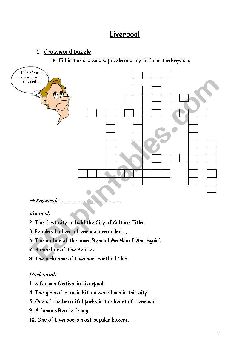 First half of worksheets ´lesson Liverpool´
