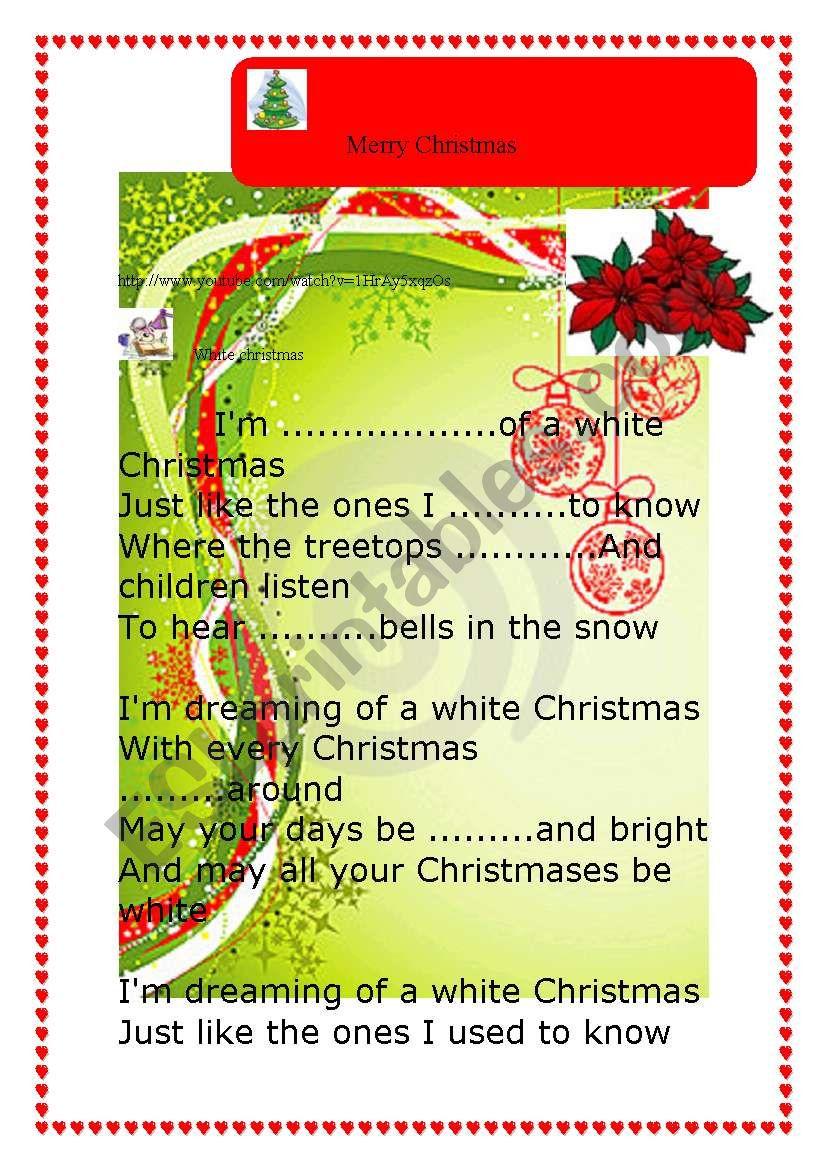 White christmas Shaina Twain worksheet