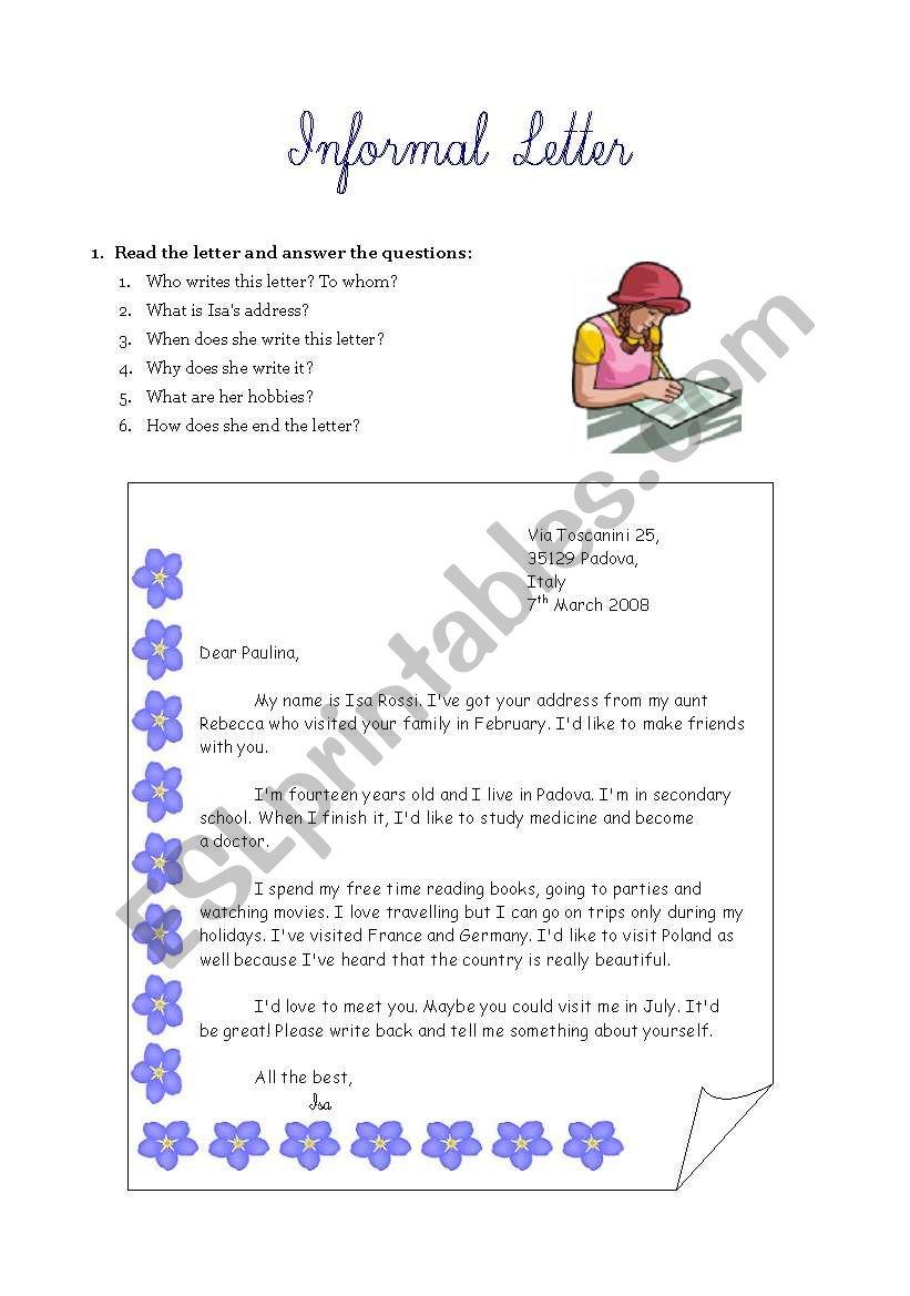 Informal letter writing worksheet